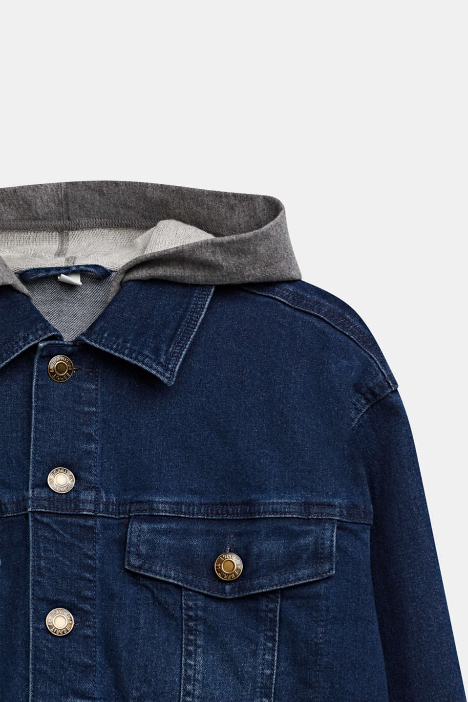 Denim jacket with a sweatshirt hood, LCDARK INDIGO DE, detail image number 2