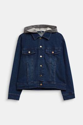 Denim jacket with a sweatshirt hood, LCDARK INDIGO DE, detail