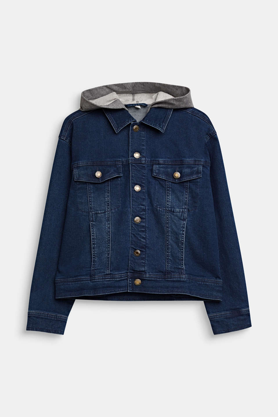 Esprit - Denim jacket with a sweatshirt hood
