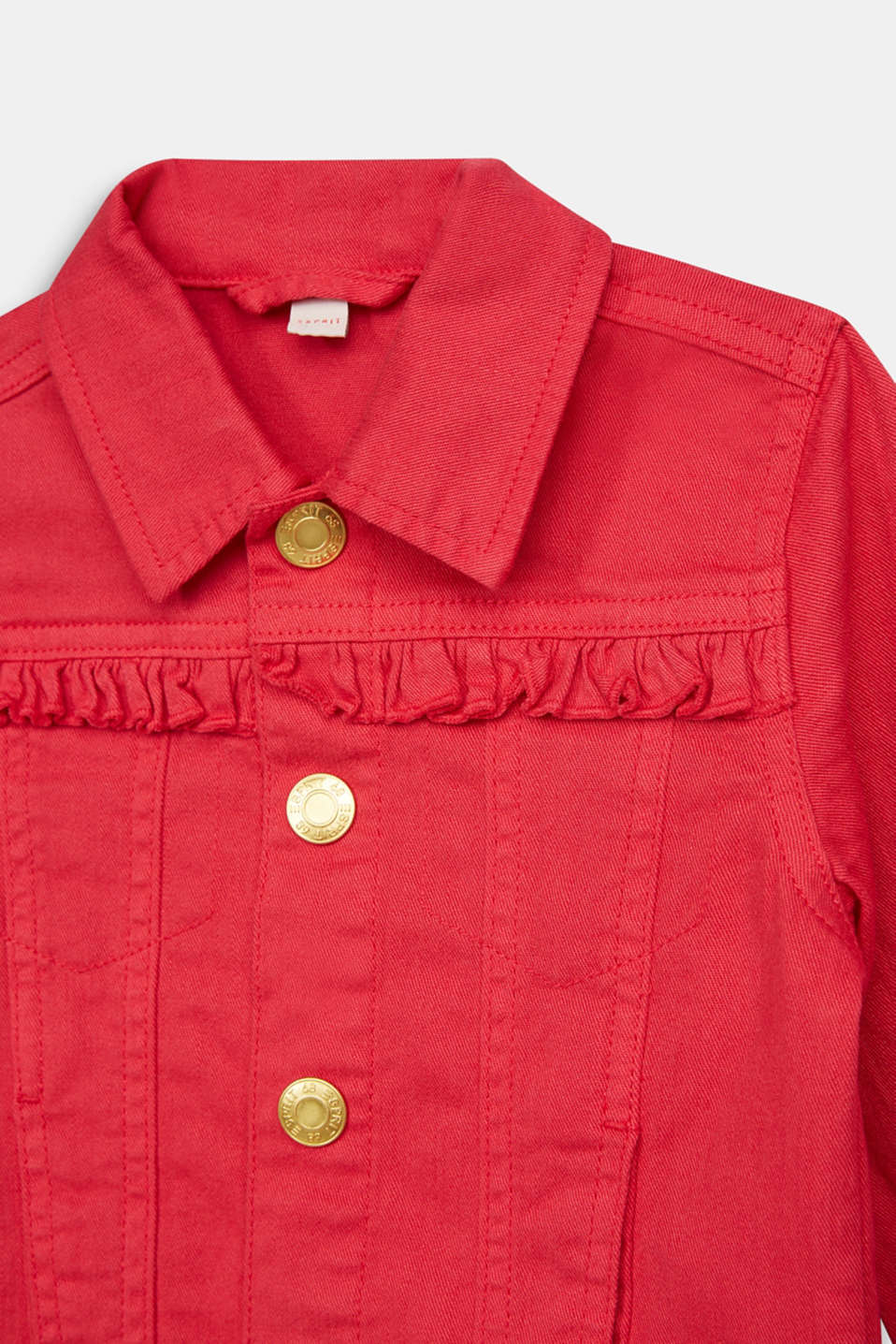 Coloured denim jacket with frills, RASPBERRY, detail image number 2