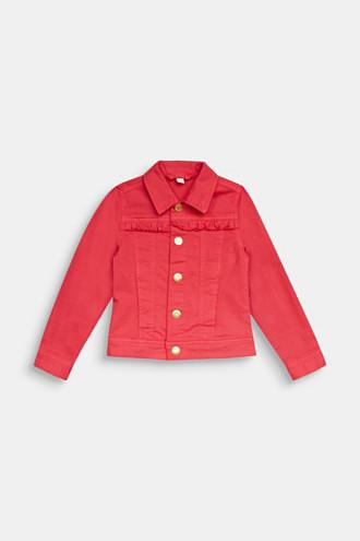Coloured denim jacket with frills