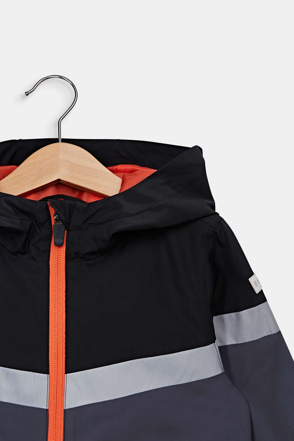 Reflective windbreaker with a hood, ANTHRACITE, detail image number 2