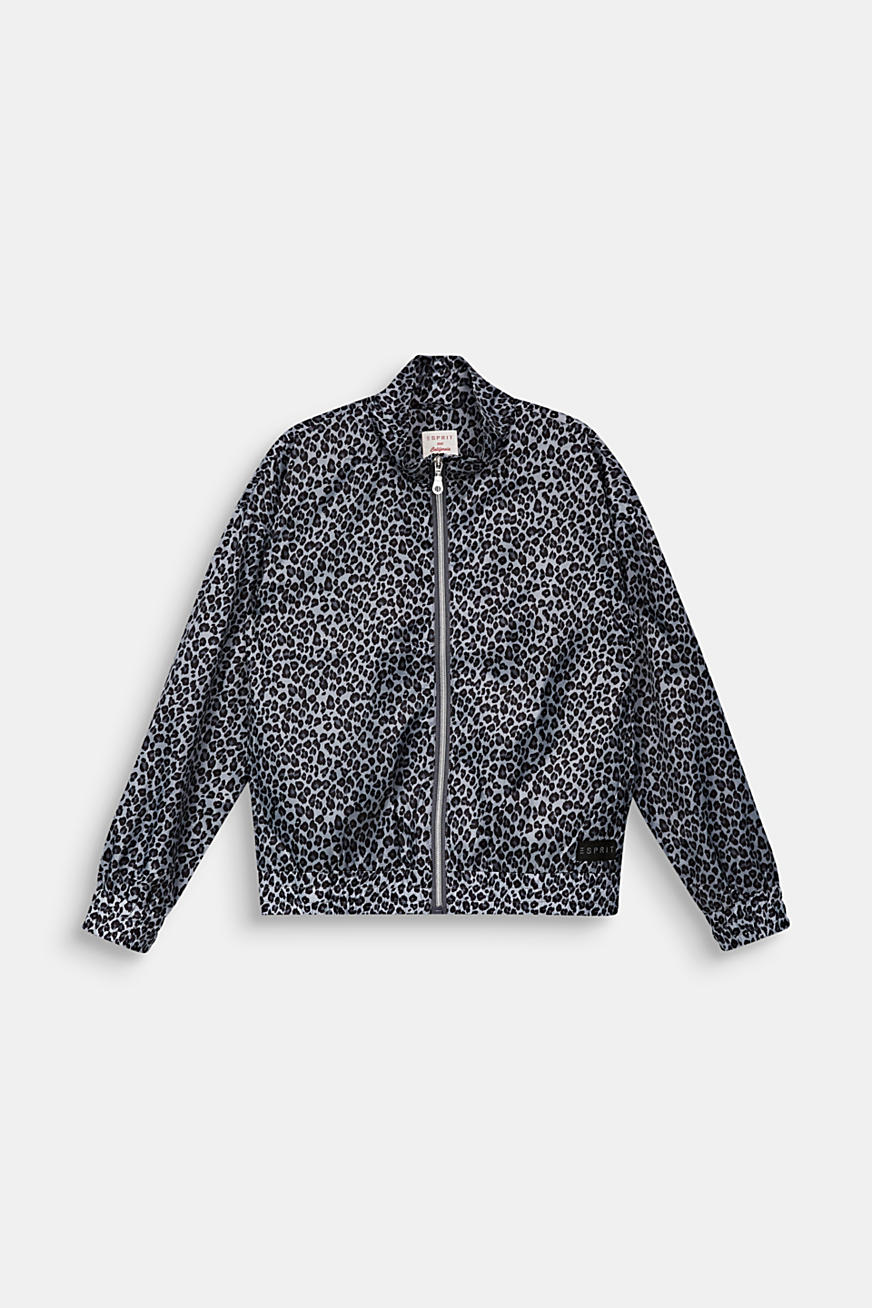 Windbreaker with a leopard print