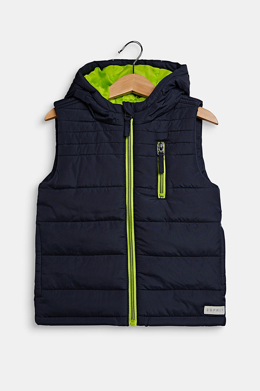Hooded quilted body warmer with NEON details