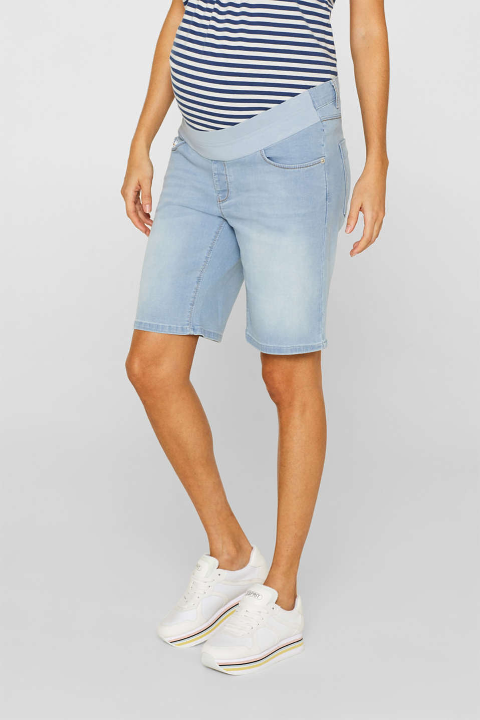 Stretch denim Bermudas with an under-bump waistband, LCLIGHTWASH, detail image number 6