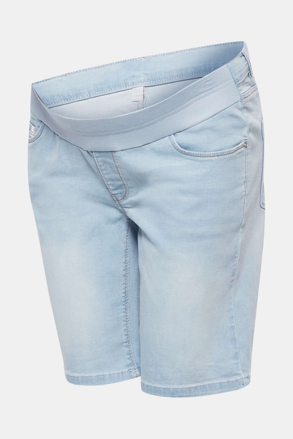 Stretch denim Bermudas with an under-bump waistband, LCLIGHTWASH, detail image number 7
