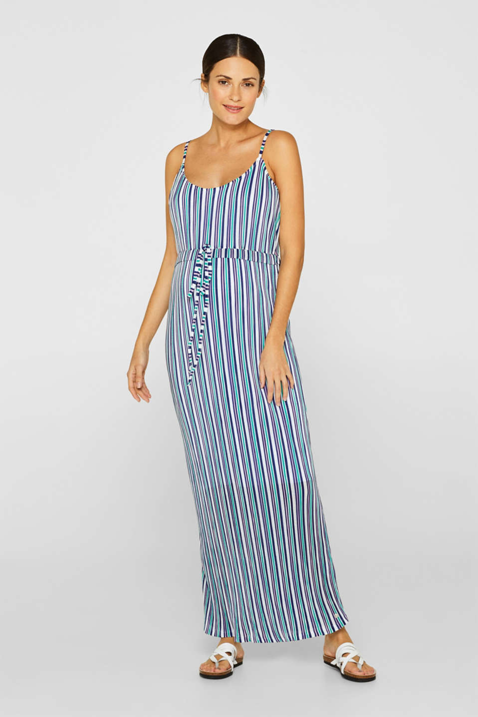 Pleated jersey maxi dress with stripes, LCEMERALD GREEN, detail image number 0