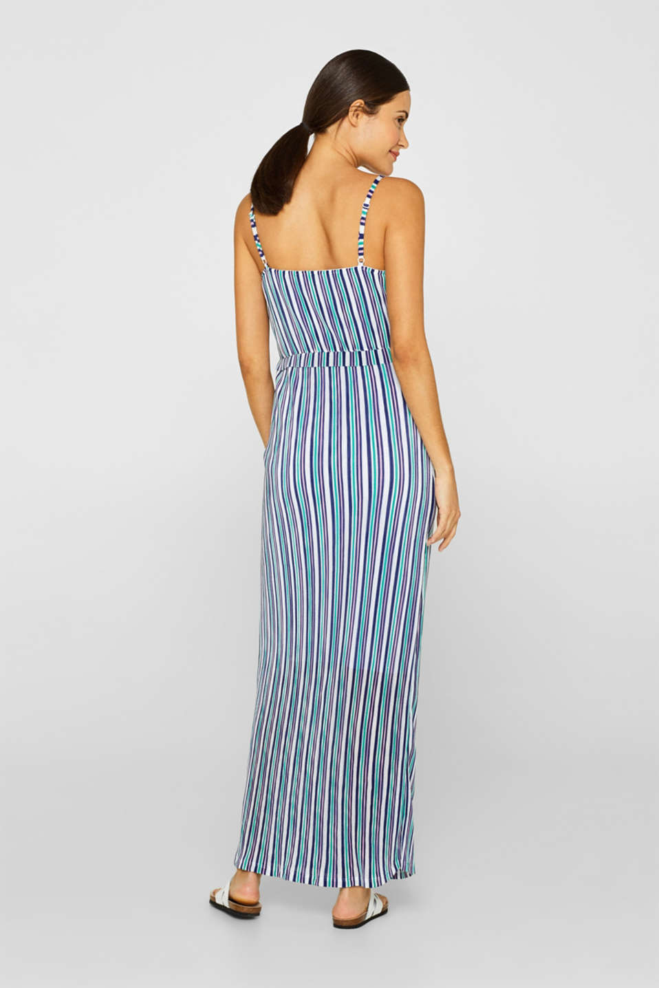 Pleated jersey maxi dress with stripes, LCEMERALD GREEN, detail image number 2