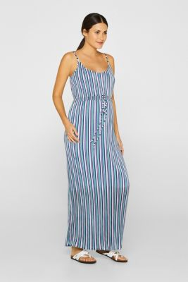 Pleated jersey maxi dress with stripes, LCEMERALD GREEN, detail