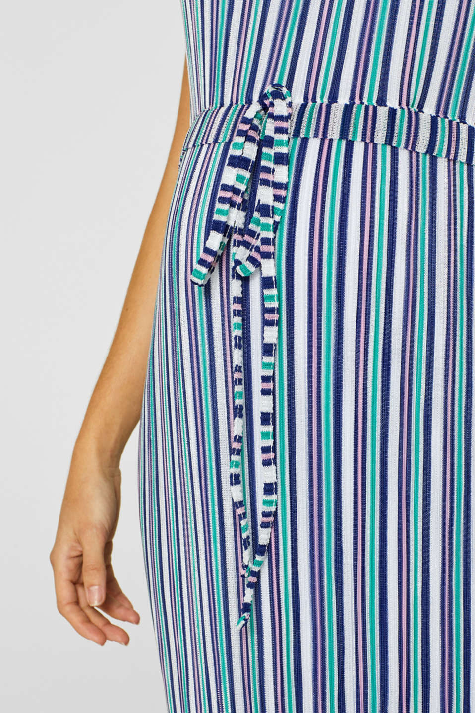 Pleated jersey maxi dress with stripes, LCEMERALD GREEN, detail image number 3