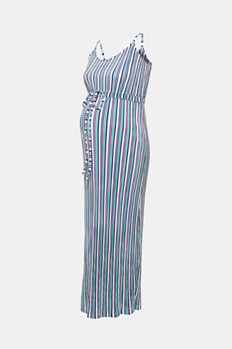 Pleated jersey maxi dress with stripes