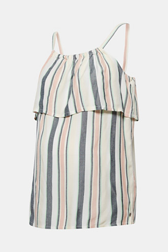 Woven top with stripes and frills