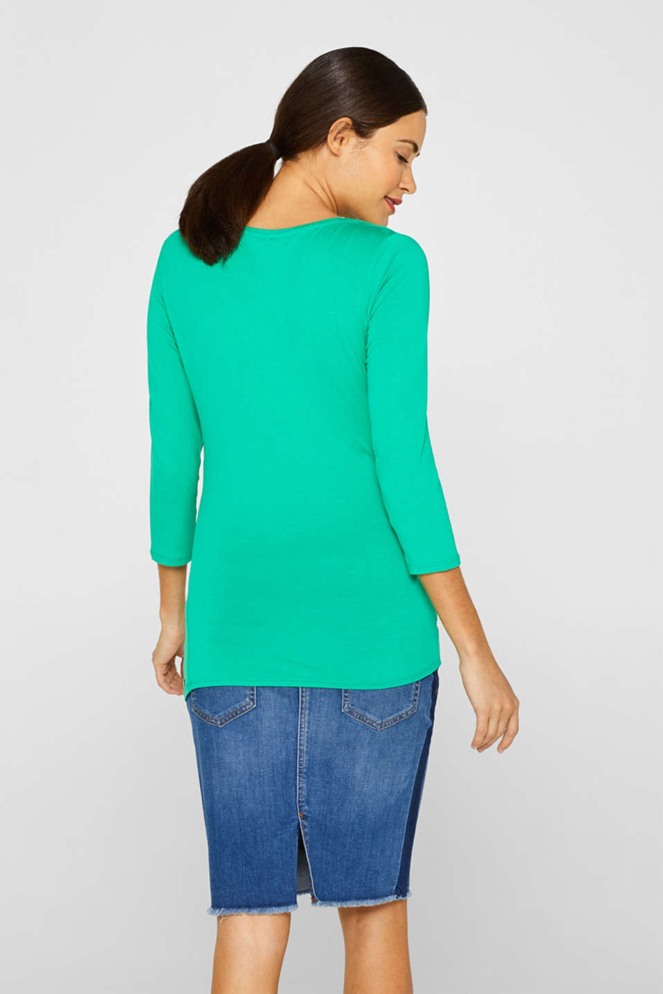 Stretch nursing top with knot detail, LCEMERALD GREEN, detail image number 3