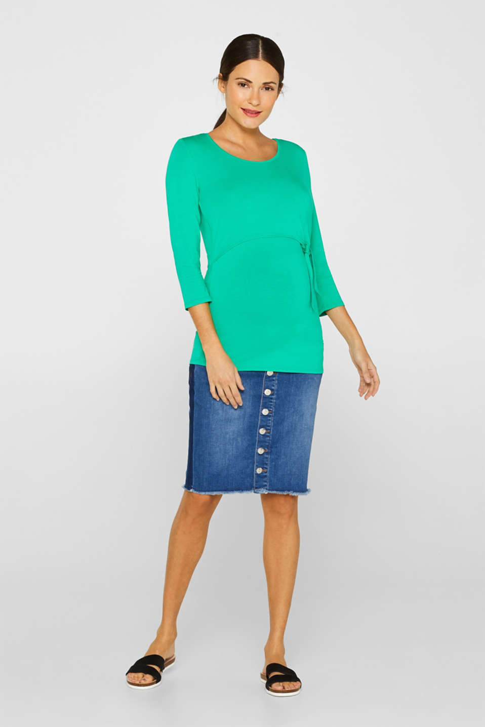 Stretch nursing top with knot detail, LCEMERALD GREEN, detail image number 1