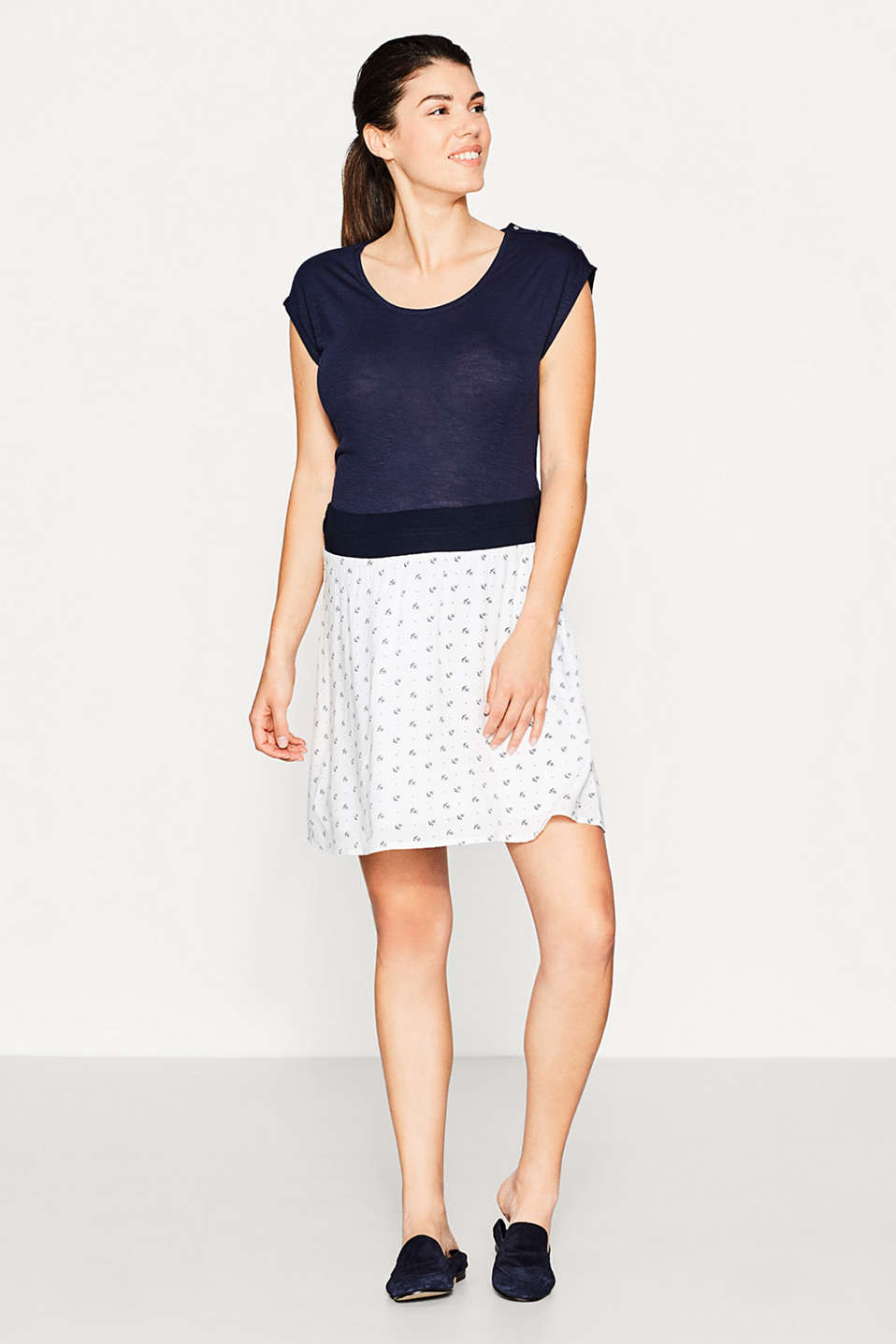 Esprit - Flowing print skirt + under-bump waistband