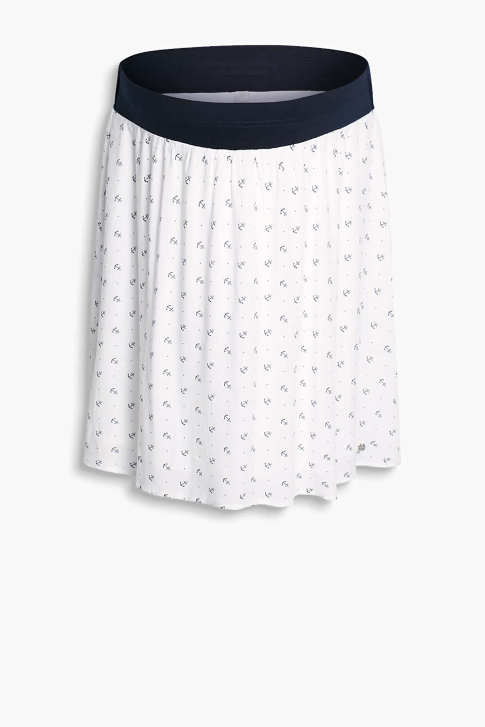 Flared, swirling woven skirt with an anchor print and supportive under-bump waistband