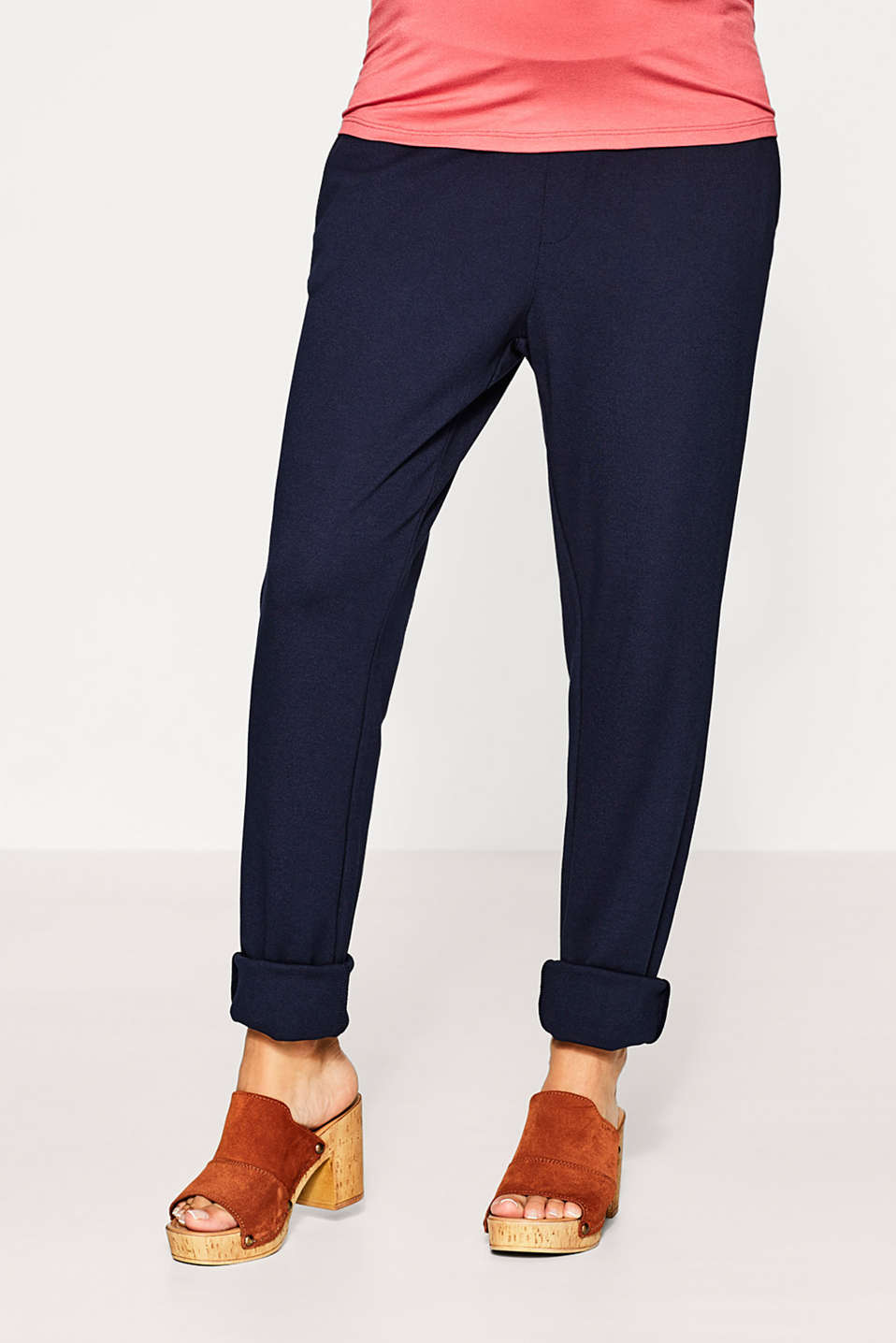 Esprit - Jersey trousers with under-bump waistband