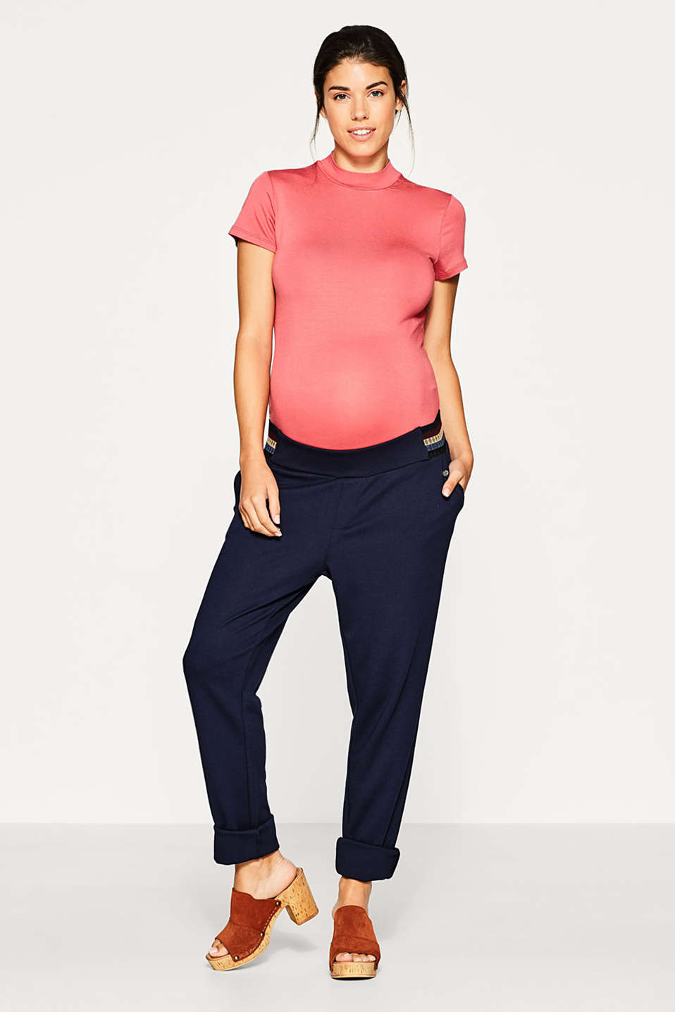 Jersey trousers with under-bump waistband