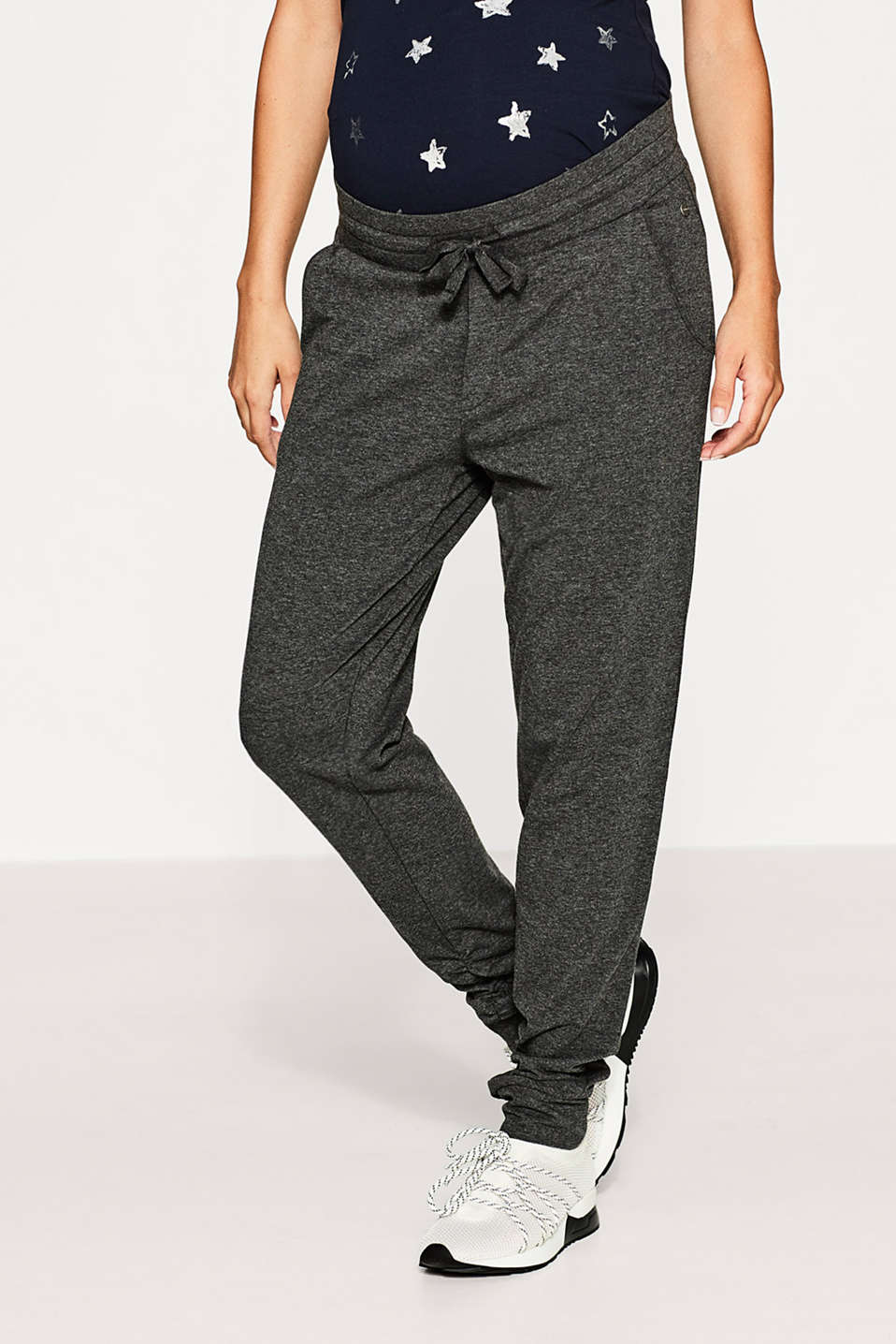 Esprit - Soft jersey trousers, under-bump waistband