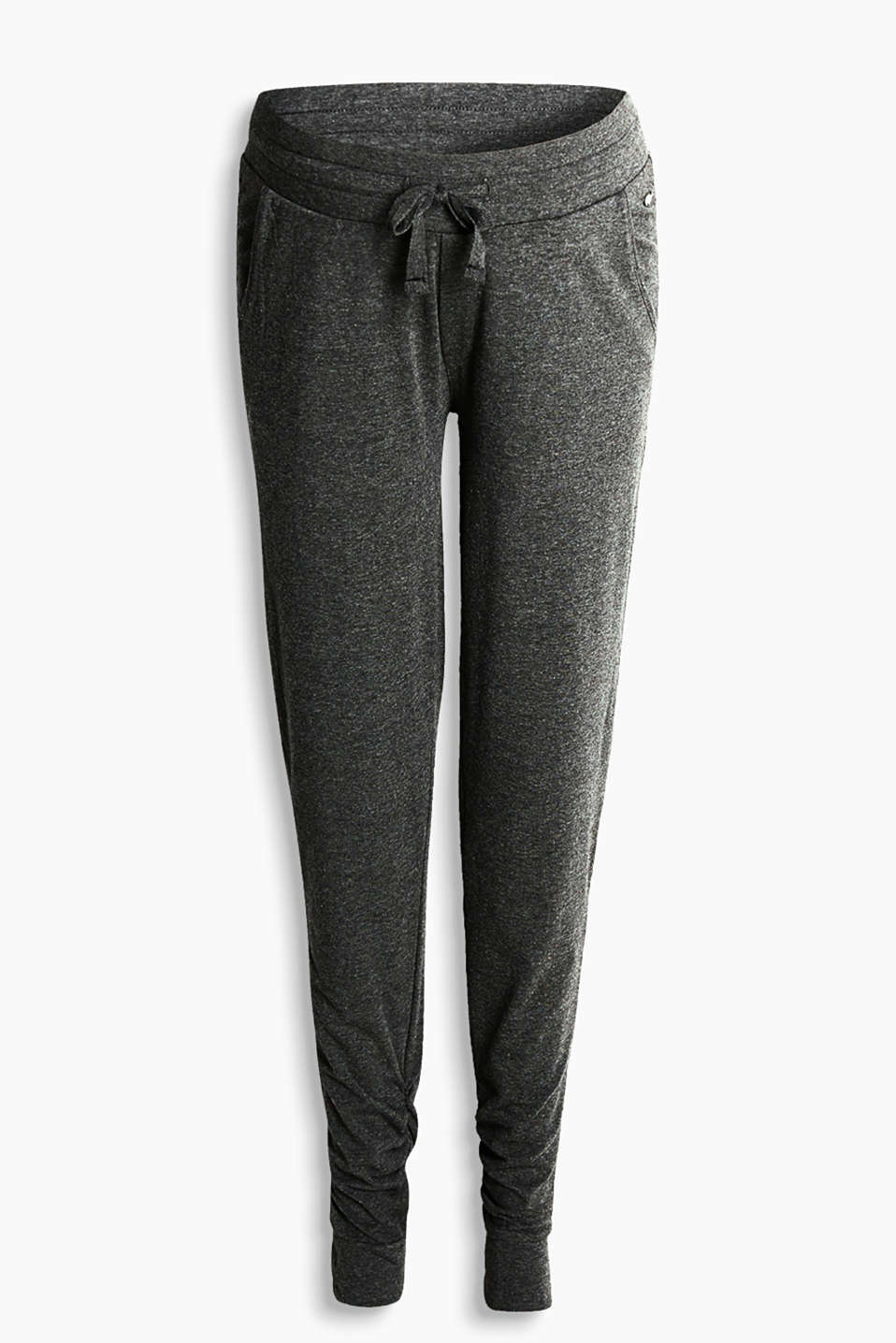 Soft jersey trousers with gathered seams on the legs, leg cuffs and supportive under-bump waistband