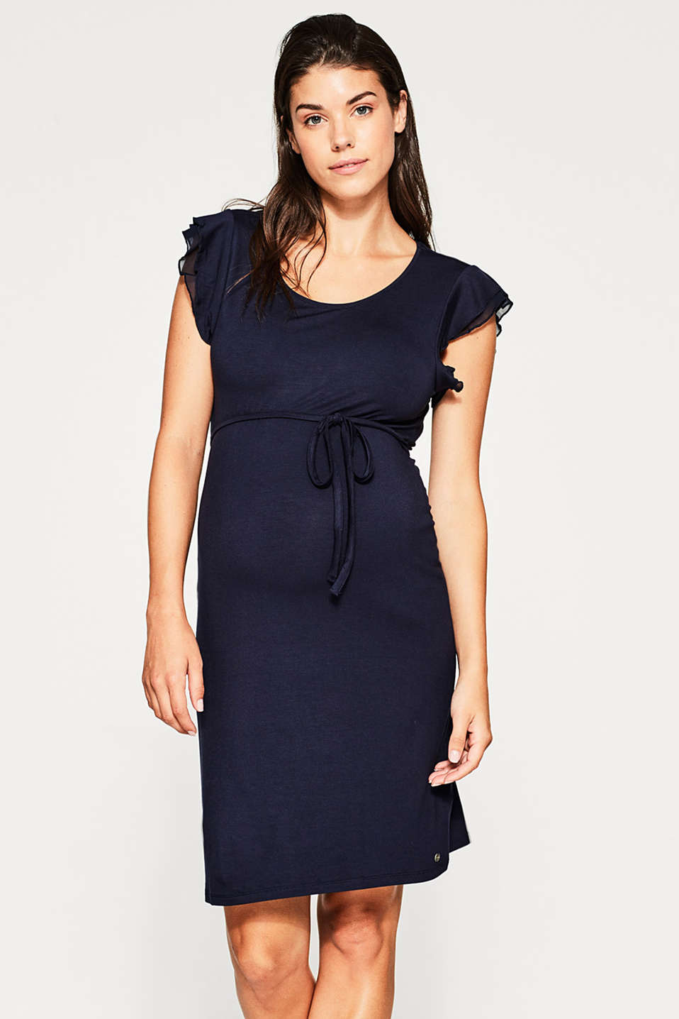 Esprit - Stretch jersey dress with frilled sleeves