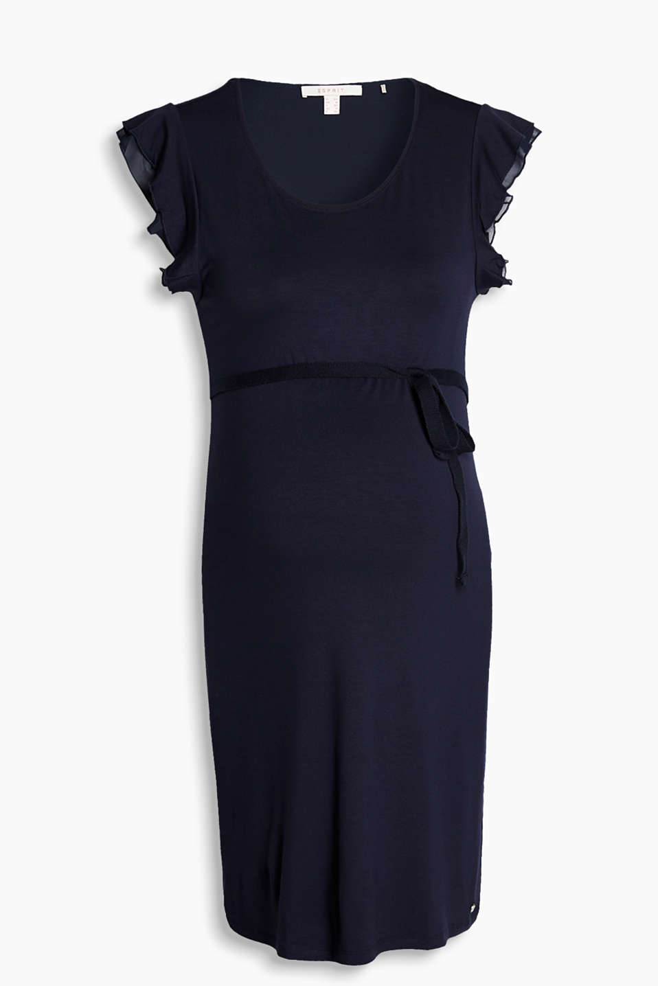 Feminine stretch jersey dress with layered, frilled chiffon sleeves