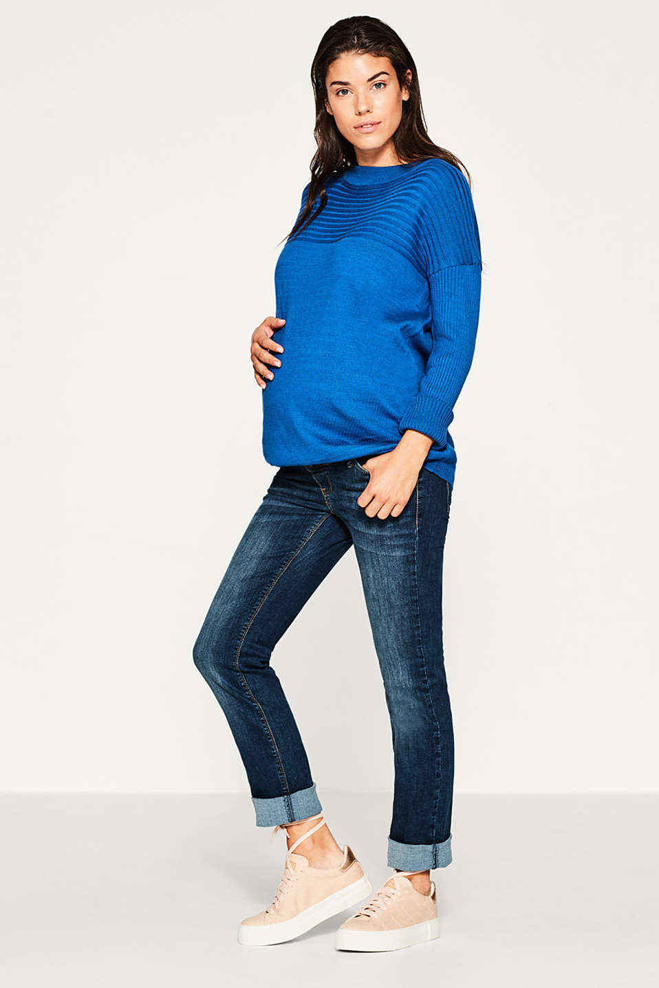Ribbed texture jumper, cotton blend