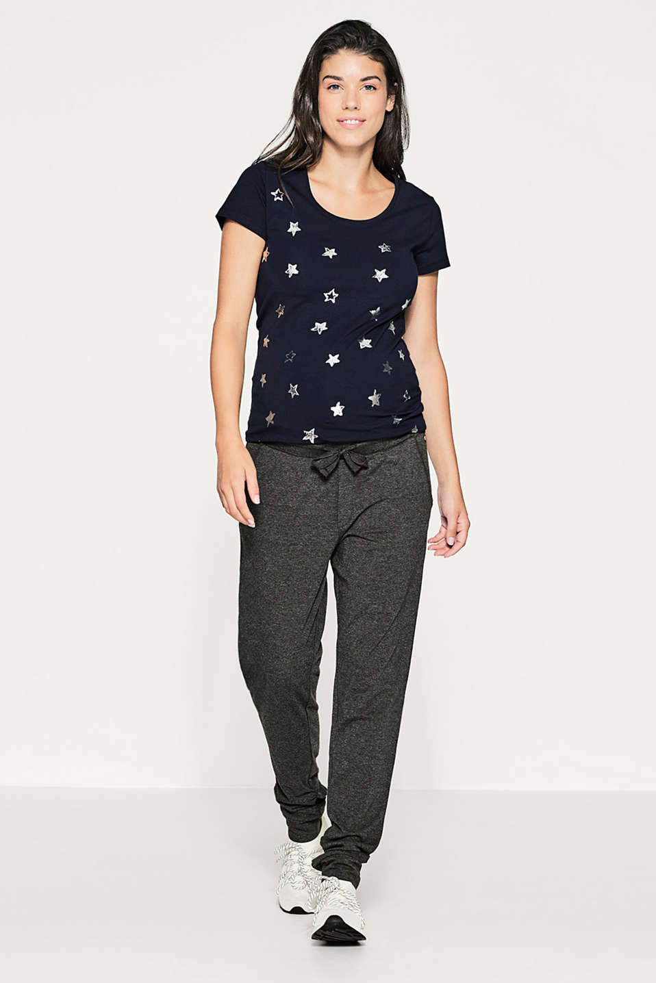 Stretch tee with foil print stars