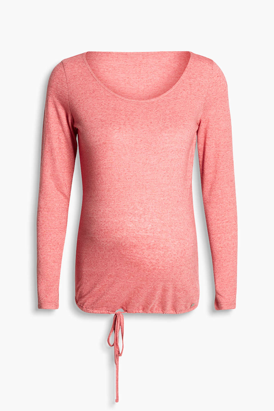 Soft, melange long sleeve top with a drawstring hem