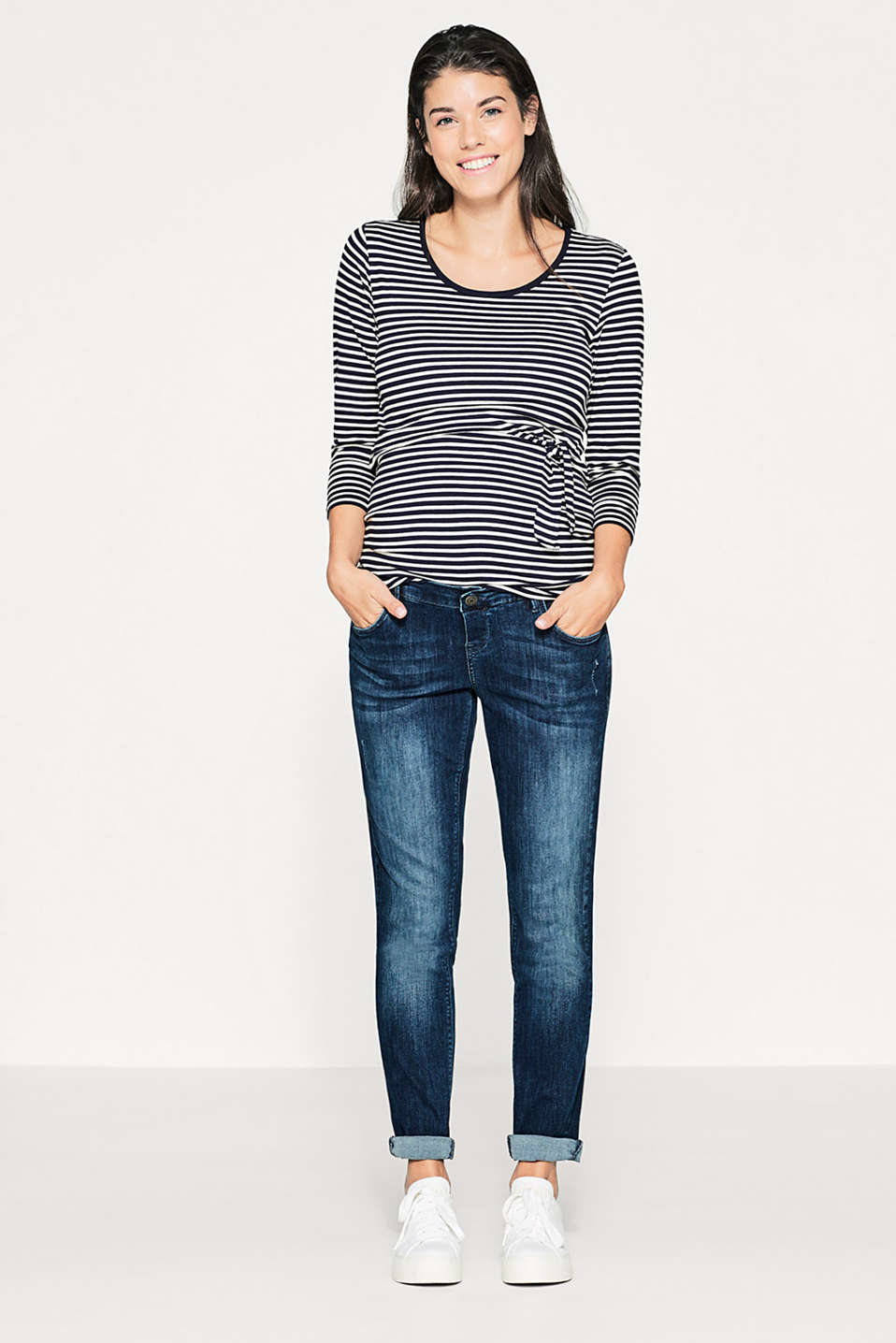 Stretch denim jeans, over-bump waistband