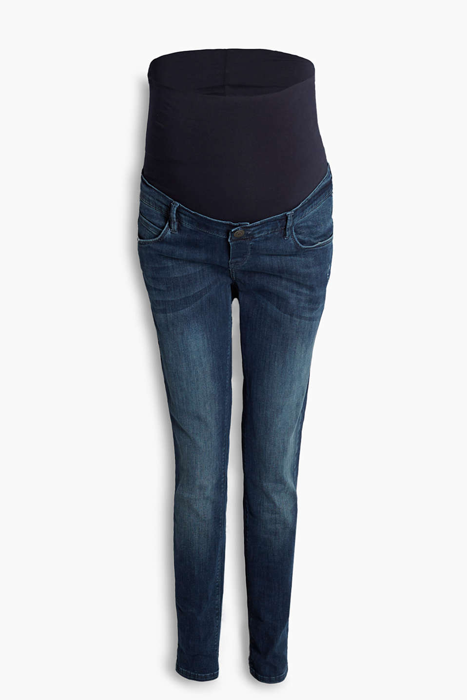 Casual stretch denim jeans with discreet vintage effects and adjustable over-bump waistband