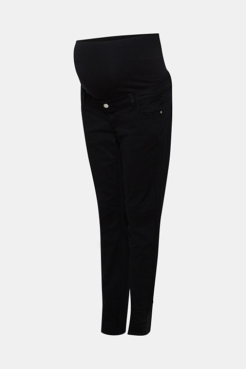 Stretch cotton trousers with an over-bump waistband