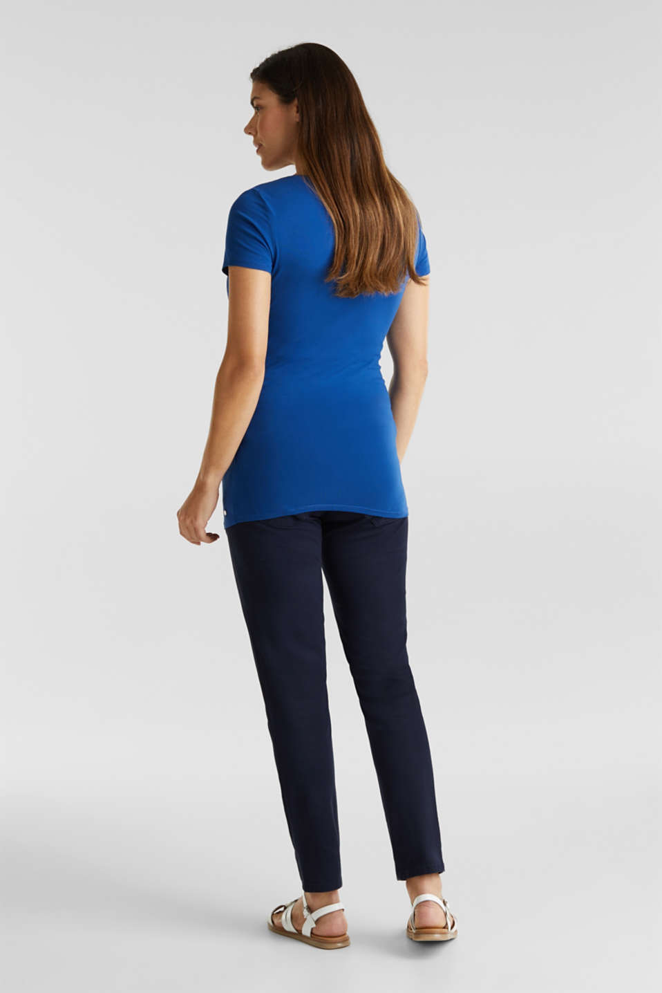 Stretch cotton trousers with an over-bump waistband, LCNIGHT BLUE, detail image number 2