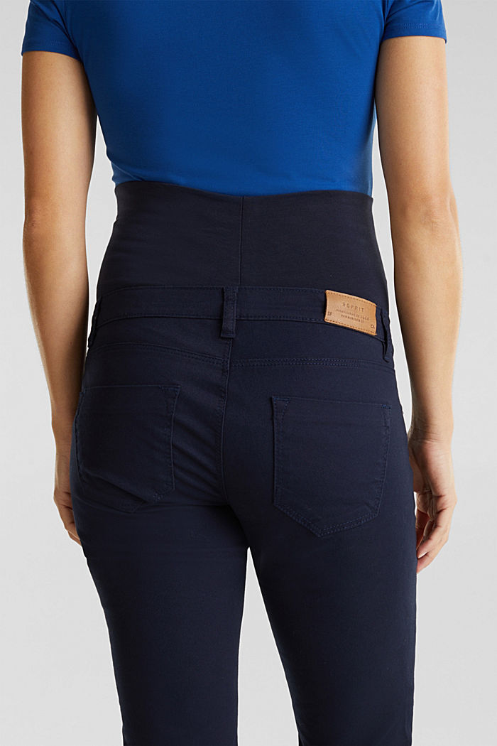 Stretch trousers with an over-bump waistband, NIGHT BLUE, detail image number 4