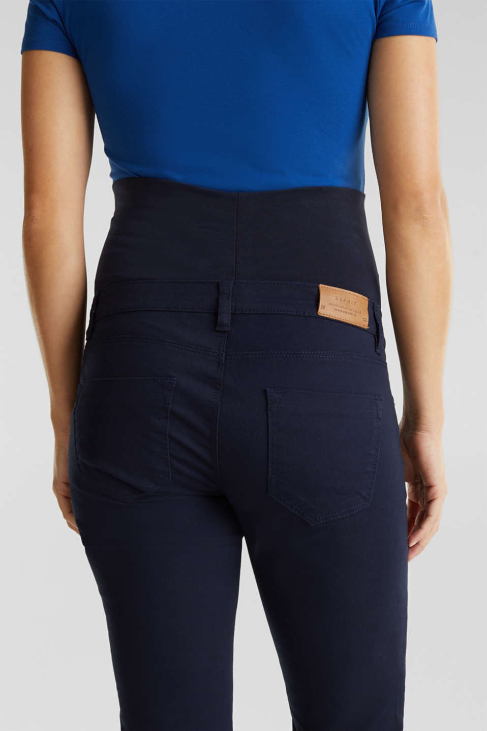 Stretch cotton trousers with an over-bump waistband, LCNIGHT BLUE, detail image number 4