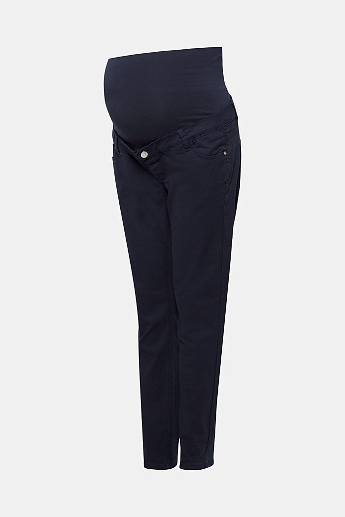 Stretch trousers with an over-bump waistband, NIGHT BLUE, overview