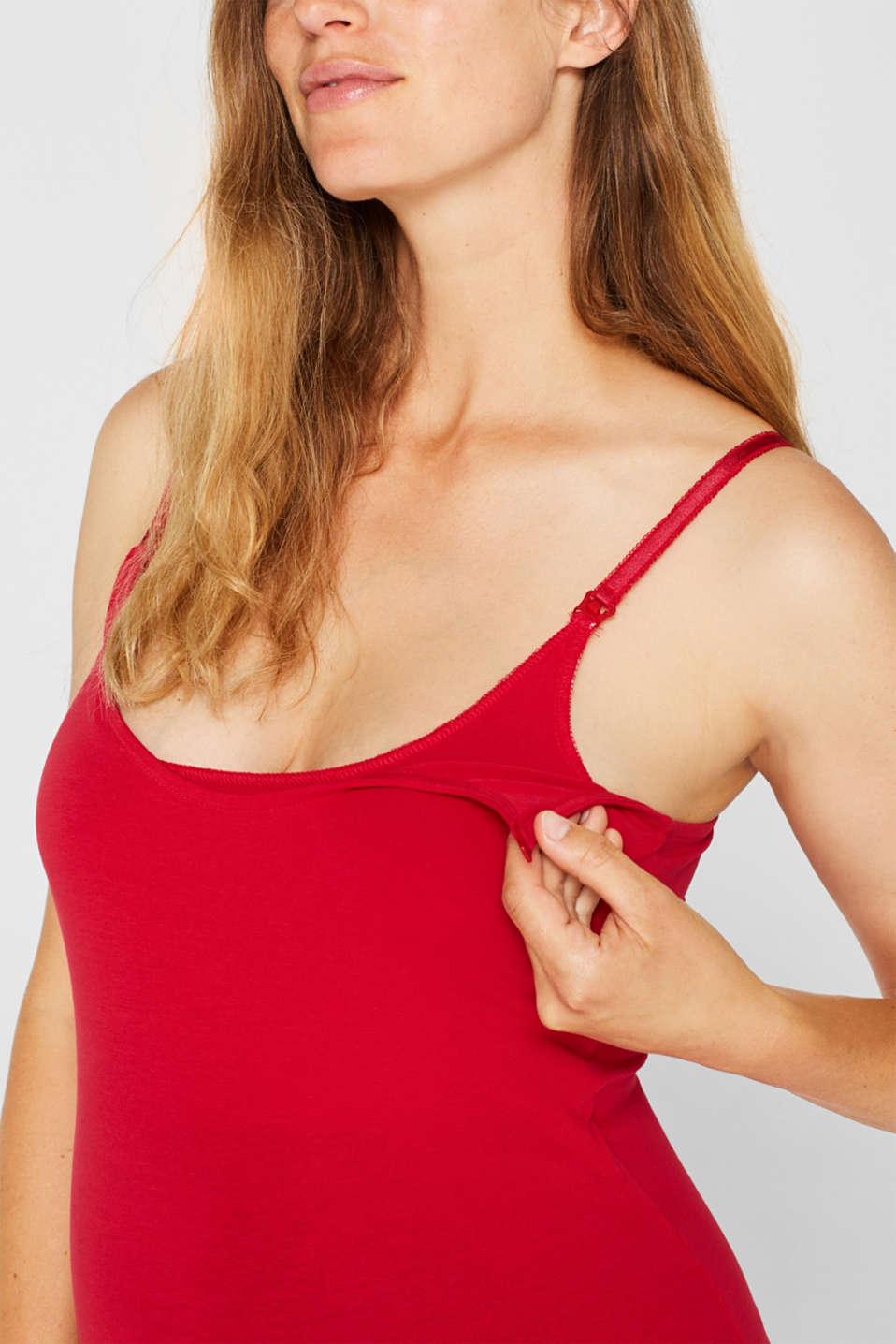 Stretchy nursing top, LCRED, detail image number 3
