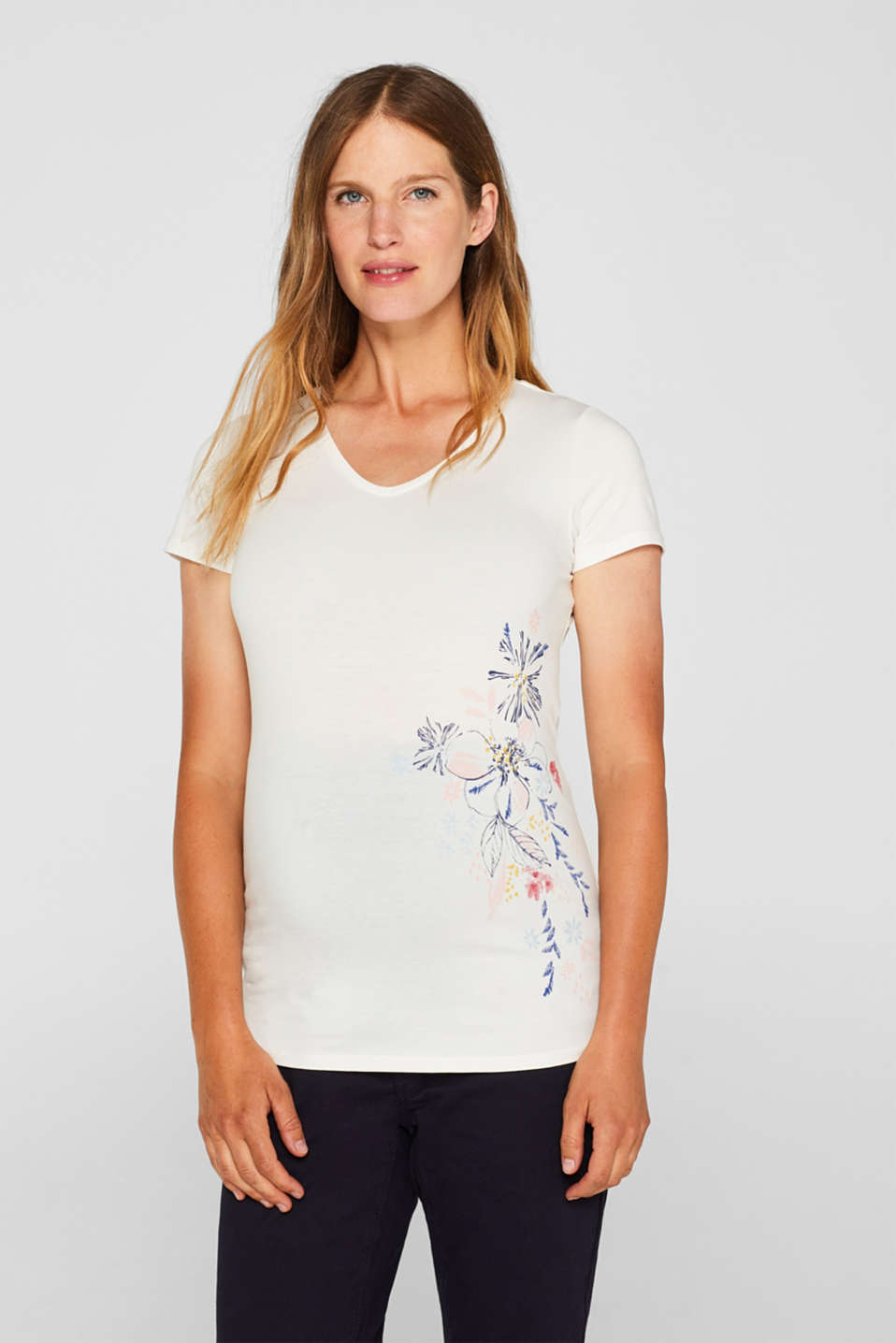 Esprit - Stretch T-shirt with a floral print
