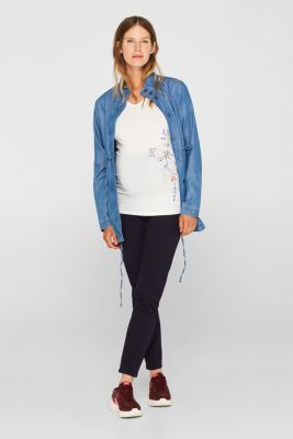 Stretch T-shirt with a floral print, LCOFF WHITE, detail