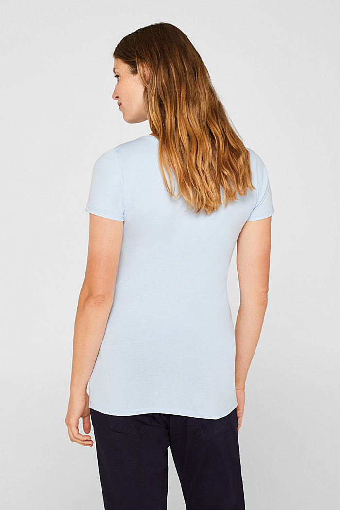 Stretch T-shirt with a floral print, PASTEL BLUE, detail image number 3