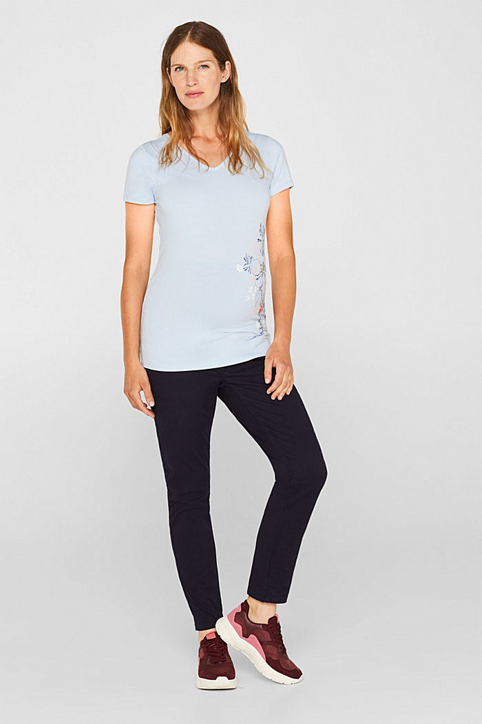 Stretch T-shirt with a floral print, PASTEL BLUE, detail image number 1