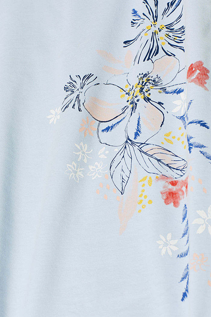Stretch T-shirt with a floral print, PASTEL BLUE, detail image number 4