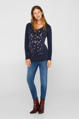 Long sleeve top in stretch cotton with a fantastic front print, LCNIGHT BLUE, detail