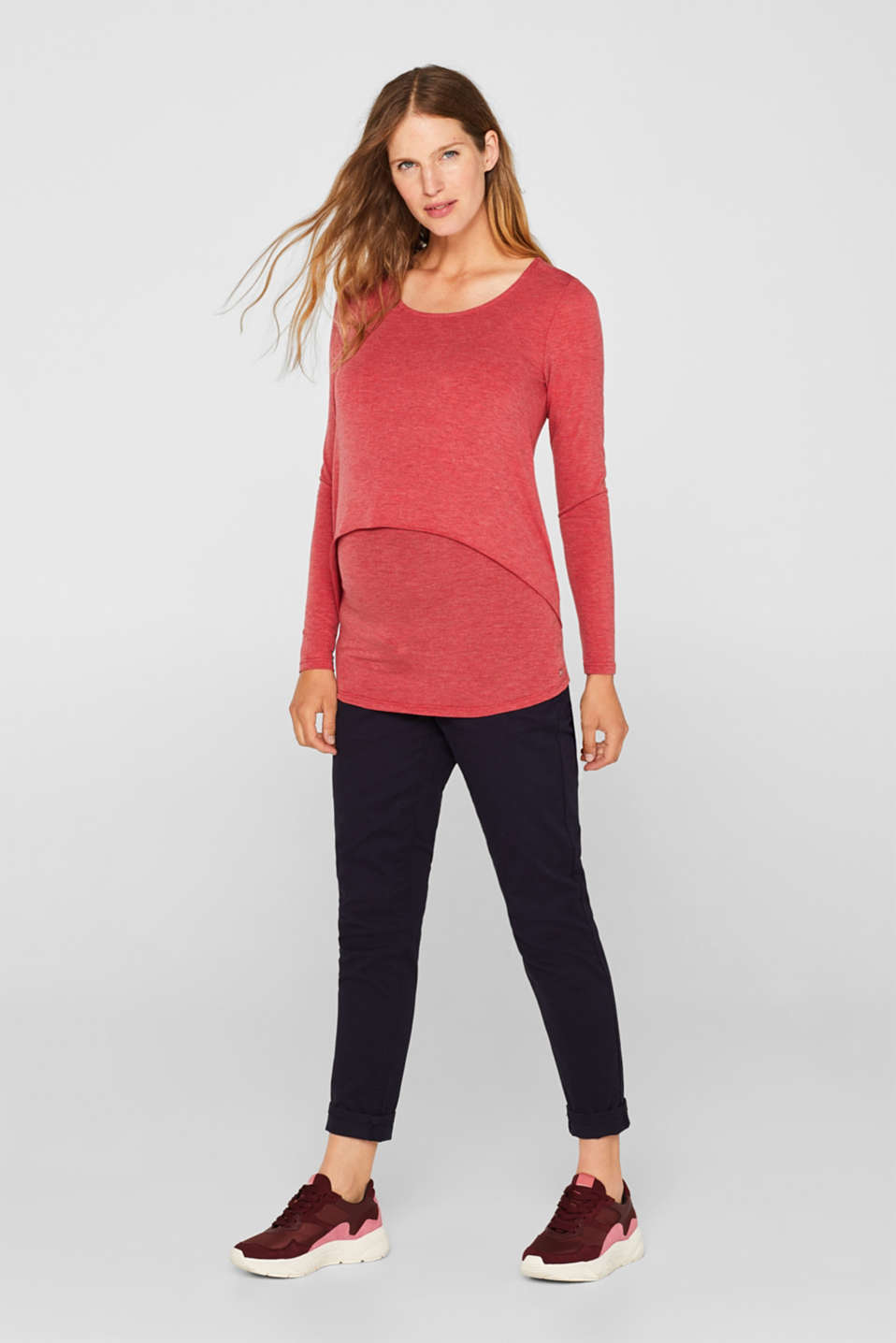 Layered nursing top, LCRED, detail image number 1