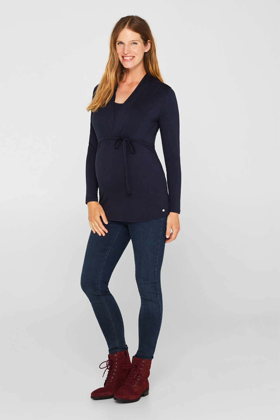 Stretch long sleeve nursing top, LCNIGHT BLUE, detail image number 1