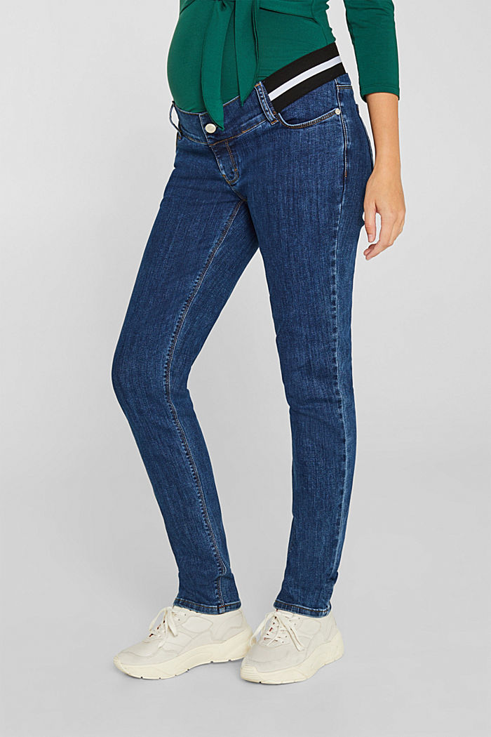 Recycled jeans with an under-bump waistband, BLUE MEDIUM WASHED, detail image number 0