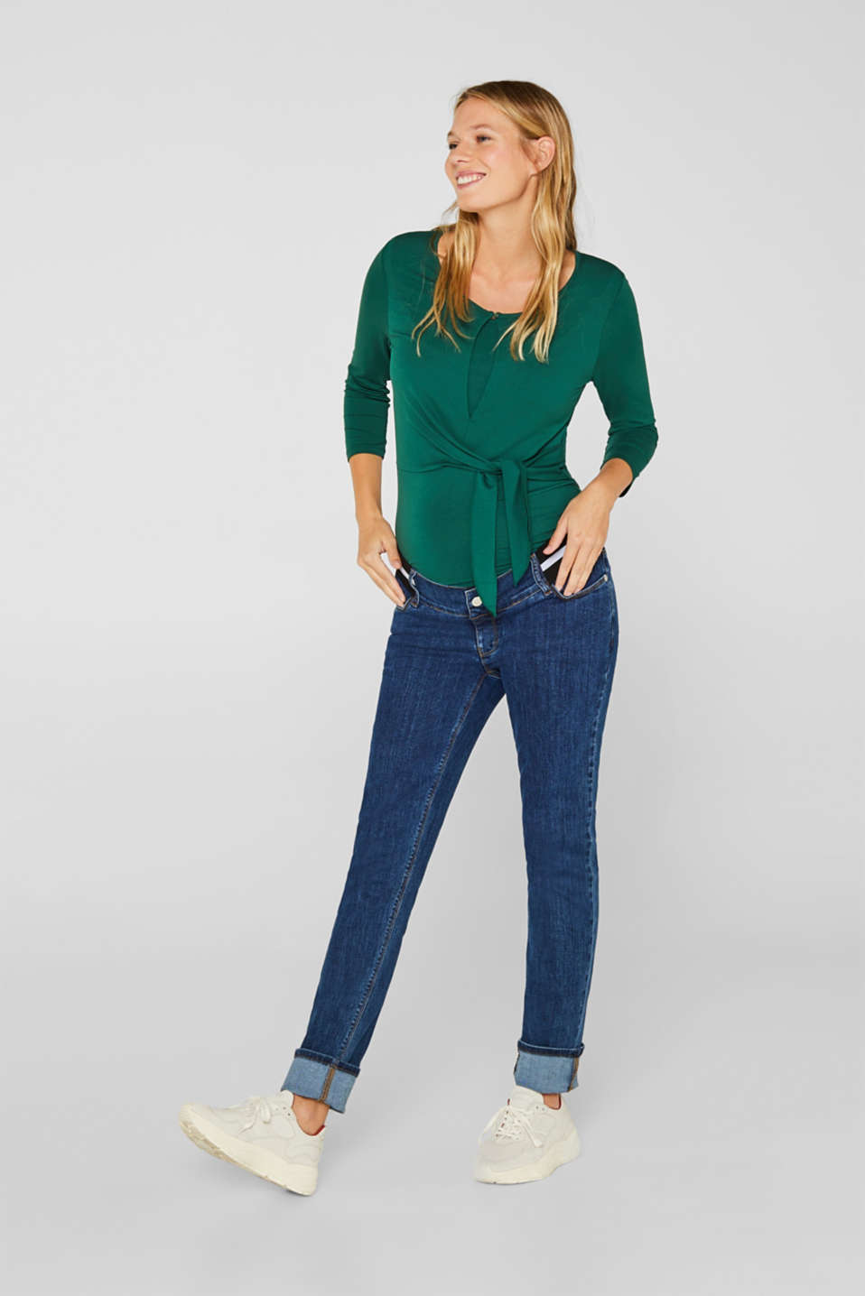 Recycled stretch jeans with an under-bump waistband, LCMEDIUM WASH, detail image number 1