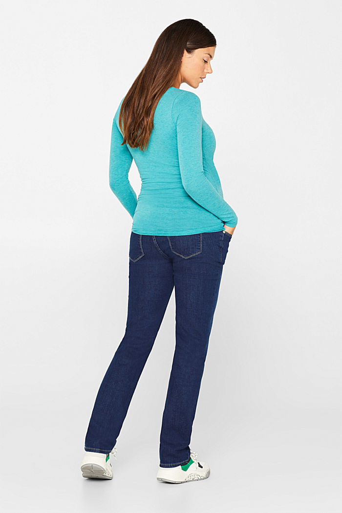 Stretch jeans with an over-bump waistband, BLUE DARK WASHED, detail image number 3