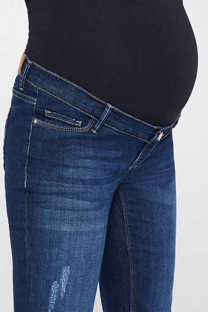 Stretch jeans with an over-bump waistband, BLUE DARK WASHED, detail image number 6