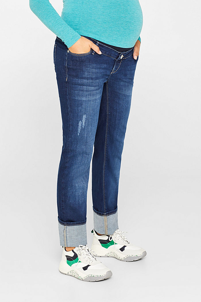 Stretch jeans with an over-bump waistband, BLUE DARK WASHED, detail image number 1